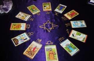 immagine che ritrae 12 carte dei tarocchi disposte a cerchio in corrispondenza dei segni zodiacali
