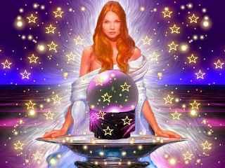 immagine che ritrae una veggente davanti alla palla di cristallo circondata da una miriade di stelline
