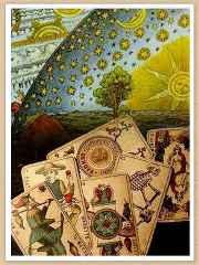immagine che ritrae alcune carte degli arcani con sfondo rappresentante la natura