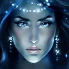 immagine che ritrae il volto di una giovane donna illuminato da luce azzurra