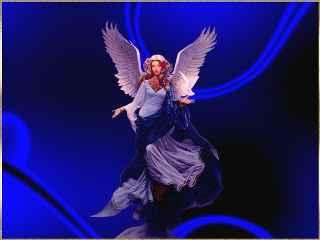 immagine che ritrae un angelo su sfondo blu