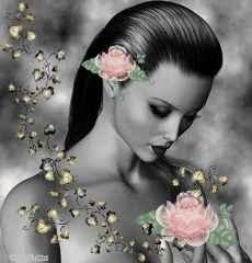 immagine che ritrae una bella operatrice esoterica circondata da rose