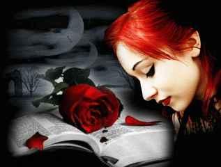 immagine che ritrae il profilo di una ragazza con i capelli rossi che affianca una rosa rossa poggiata su un libro